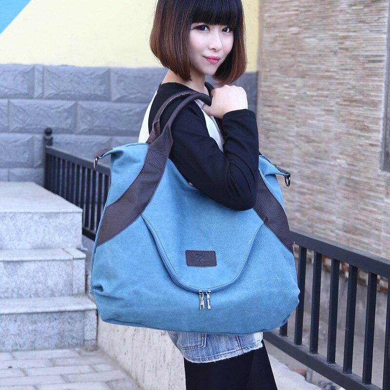 Canvas Big Size Zipper Shoulder Bag Solid Color Special Design Girls Handbag Female Package Bags