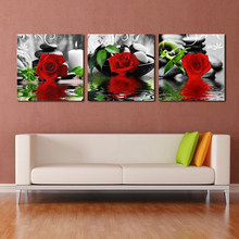 Home Decoration Modern HD Printed 3 Pieces Flowers Paintings Modular Posters Tableau Wall Art Pictures Plant Canvas Framework(China)