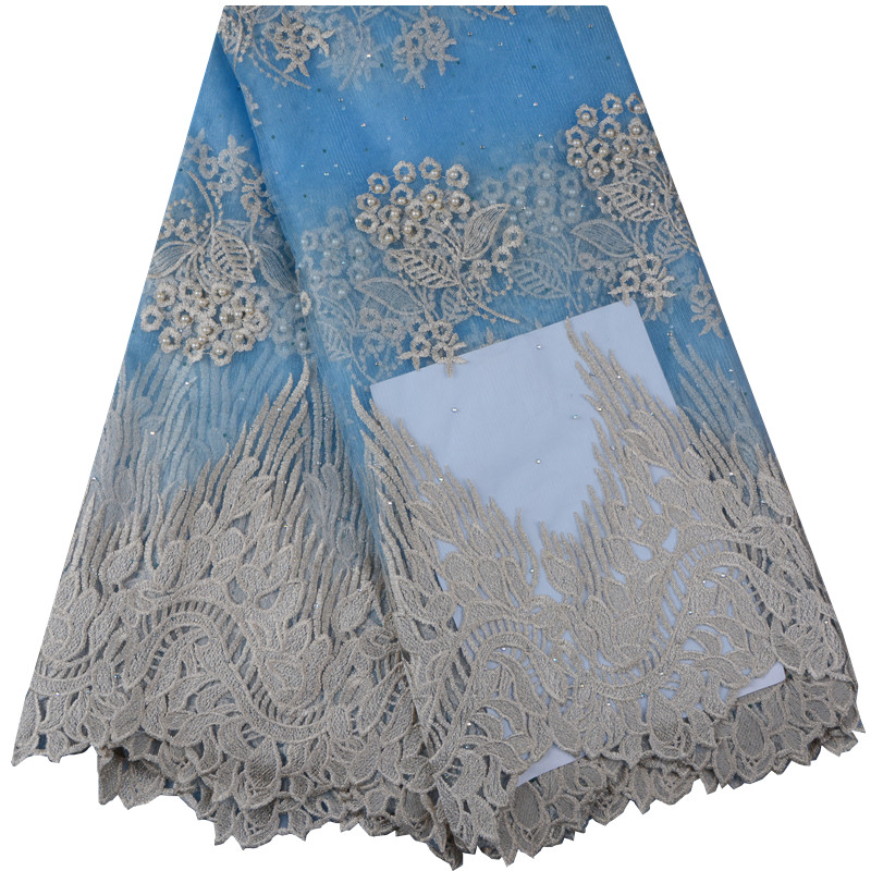 2018 High Quality African Lace Fabric Sky Blue French Net Embroidery Stones Tulle Lace Fabric For