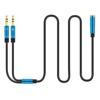 Mini Conector estéreo de 3,5mm, 1 hembra a 2 macho, divisor de auriculares a PC, Cable de Audio de ordenador para auriculares a computadora