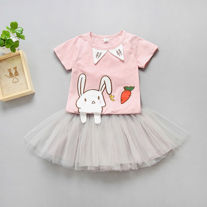 f6a86639c1ea WEIXINBUY Summer Cute Clothes Cartoon Bunny Short Sleeve T Shirts +TUTU  Skirt Clothes Baby Girl Clothing Set 0 5T-in Clothing Sets from Mother    Kids on ...