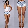 2017 Novo Poliéster Algodão Meados Calções calças de Brim Das Mulheres Marca de Moda Vintage Solto Waisted Jeans Curto Sexy Hot Mulher Calções