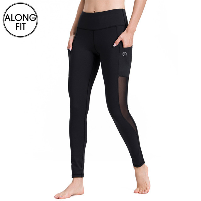 7ef1fe73be Mesh Yoga Leggings With Pockets Women Tummy Control Fitness Sport Leggings  Yoga Pants For Workout Running Gym
