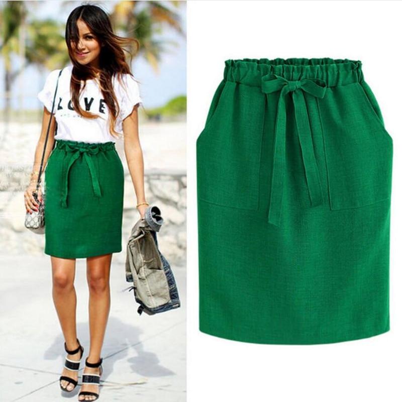 Spring Summer Elegant Midi Skirts Womens Office Pencil Skirt Cotton Elastic Waist Package Hip Skirt Bow Skirt Green 2019 New