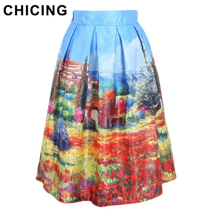 a66eb9cc21 CHICING Vintage Landscape Print Skirts Women 2018 Summer Stretch Empire  Ball Gown Pleated Midi Tutu Skater