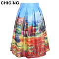 CHICING Women's Skirt New 2016 Summer Vintage Landscape Print Ball Gown Pleated Midi Tutu Skater Skirt Saias For Ladies A141028