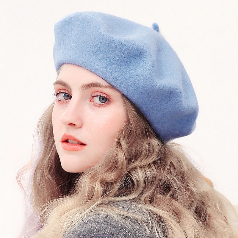 Winter Beret Women Fashion French Artist Girls Solid Color Wool Autumn Winter Hats For Women Flat Cap Felt Berets 2019(China)