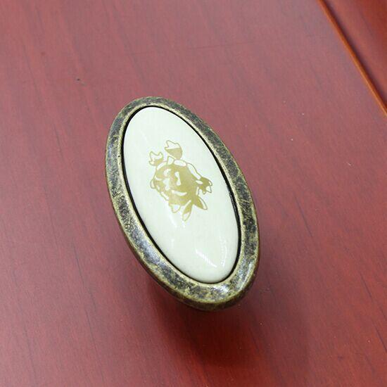 Antique brass drawer cabinet knobs ceramic dresser cupboard door pull 16mm antique brass rural vintage furniture