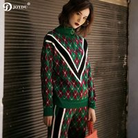 JOYDU Runway Vintage Winter Sweater Women 2018 Vintage V Stripe Argyle Pattern Classic Zipper Turtleneck Knitted Pullover Jumper