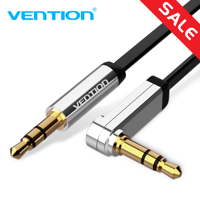 Vention 3.5mm Jack Audio Cable 3.5 Male to Male Cable Audio 90 Degree Right Angle AUX Cable for Car Headphone MP3/4 Aux Cord vention male to male aux cable 3 5mm for car