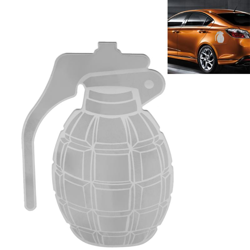 1pc Car Surface Sticker Stainless Steel Grenade Pattern
