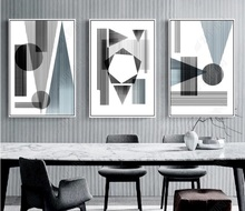 Modern Minimalist Sketch Geometric Lines Decorative Paintings Modular Picture Wall Art Canvas Painting for Living Room No Framed