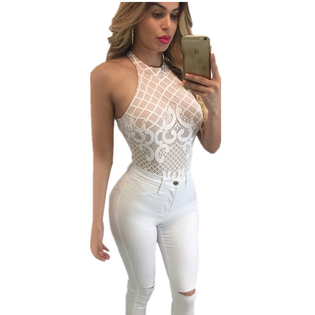 a17a5240283 Tank Top Latest Designer Sleeveless Tight Club Party Overalls Transparent  Lace Mesh Fashionnova Bodysuit 2016 Women Jumpsuit