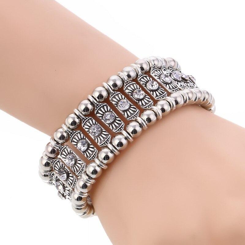 LOVBEAFAS Boho Crystal Strand Bracelets & Bangles Women Gypsy Ethnic Vintage Fashion Bracelet Femme Bohemian Party Gift Jewelry
