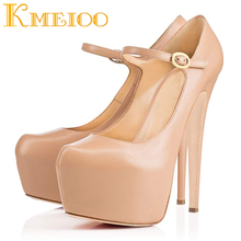 Kmeioo 2018 Sexy Ladies Shoes Fashion Platform Buckle Strap Pumps Round Toe Super High Heels Evening Party Stiletto Woman Shoes