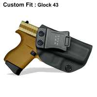 B.B.F Make IWB KYDEX Holster Custom Fits: Glock 43 Glock 43X Gun Holster Inside Concealed Carry Pistol Case Guns Bag Accessories