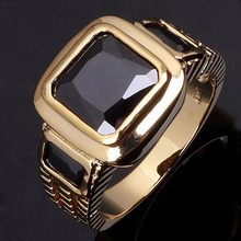 Joyería de Moda al por mayor de super AAA zirconia Anillo de Oro Masculino Hombres de piedra anillos de Oro chapado IP Negro hombres Anillo de dedo R048