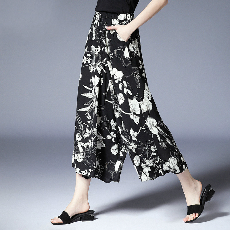 Plus Size Printed Skirt Pant Women Floral Wide Leg Pants Capri Summer Black White xl to 4xl
