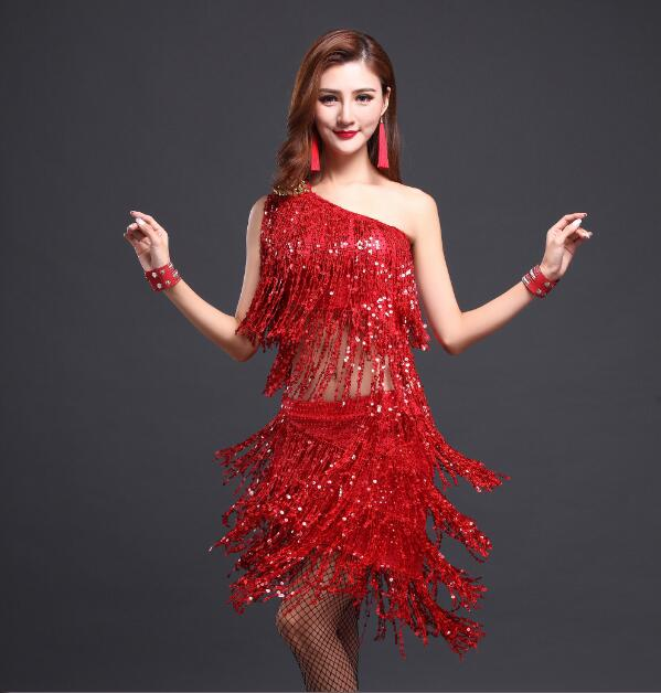 gold womens red sequin dance latin ballroom tango dresses fringe