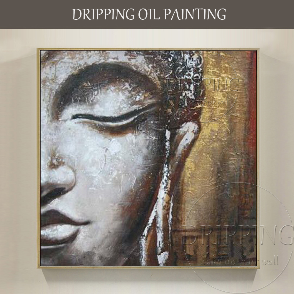 Free Shipping High Quality Modern Abstract Portrait Buddha Oil Painting on Canvas Abstract Buddha Head Figure Oil Painting