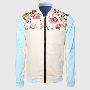 Men Cool Floral Jackets Mandarin Collar Travel Jacket Long Sleeve Khaki Blue Contrast Color Flower Print Shoulder Clothing цена 2017