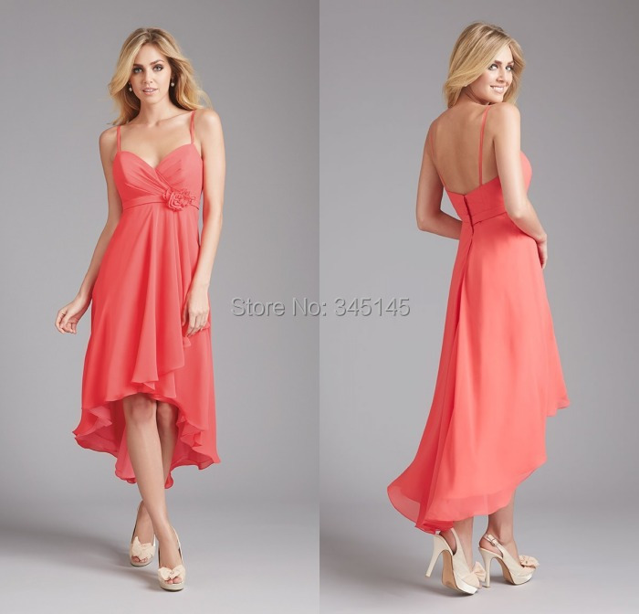 New Fashion Sweetheart Straps Empire Waistline Flowers on Side Waist Short Front Long Back Wedding Party Bridesmaid Dress