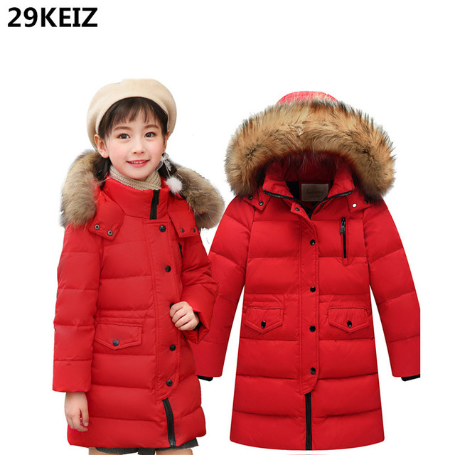 33b03fd8ef0 29KEIZ Thicken Children Winter Down Coat Kids Winter Jacket Warm Snow Wear  Solid Red Fur Hooded RU Girls Boys Long Down   Parka
