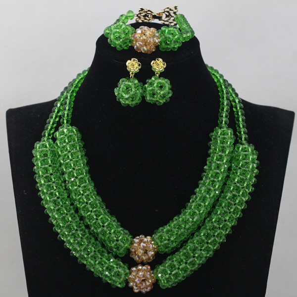 Fantastic Grass Green Crystal Rope Pendant Women Necklace Set Wedding Nigerian Beads for African Wedding Free Shipping WD715