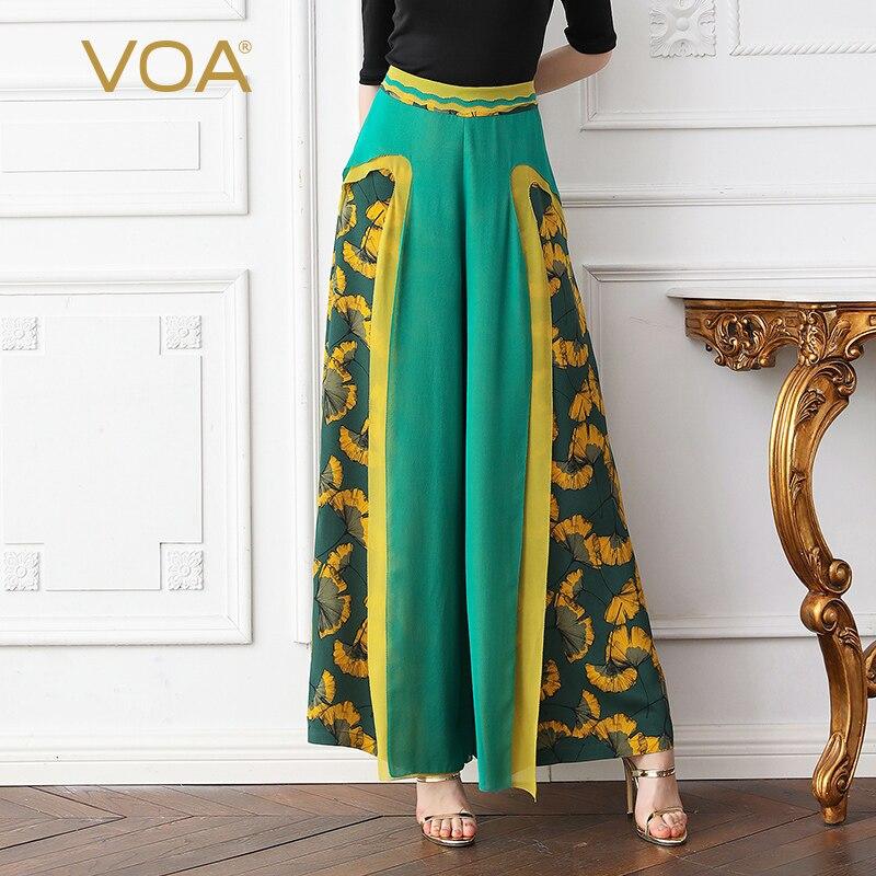 VOA Heavy Silk   Wide     Leg     Pants   Office Long Trouser Women High Waist Plus Size 5XL Loose Casual Green Print Comfort Spring K563