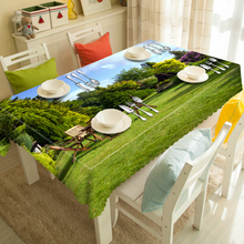 Customizable Pastoral 3d Tablecloth Green Plant Lawn Scenery Pattern Thicken Polyester Dustproof Rectangular&Round Table Cloth