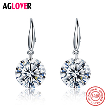 925 Sterling Silver With AAA Zircon Round Drop Earrings for Women Fashion Jewelry Engagement william butler yeats the collected works of w b yeats