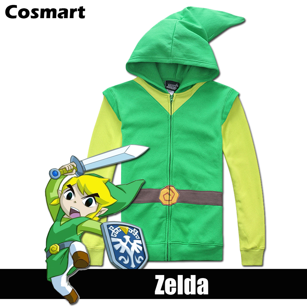 [STOCK]Plus size Game The Legend of Zelda figure Men's Zipper Hoodie Cosplay Jacket Top Fleece New 2018 free ship