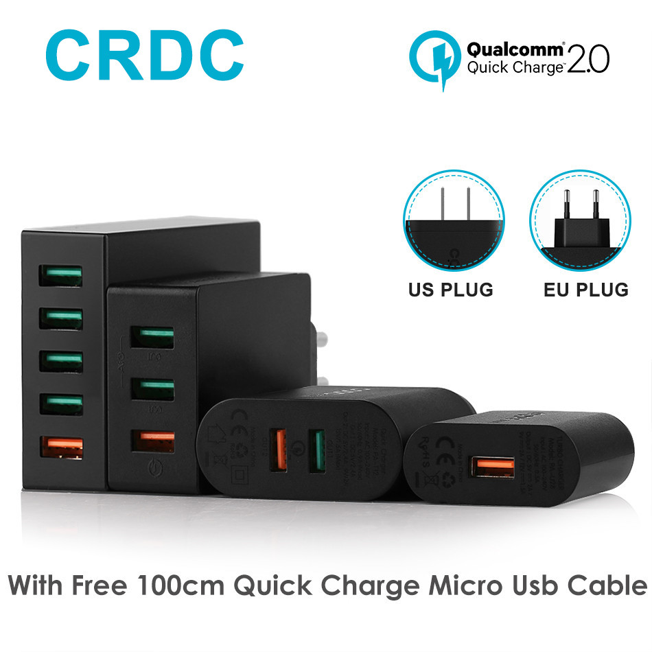 CRDC USB Charger Universal Quick Charge 2.0 Mobile Phone
