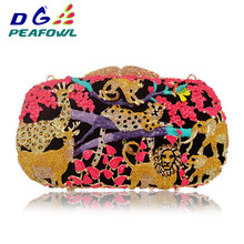 Animal Zoo Jungle Tiger Deer Metal Women Crystal Evening Bag Clutches Minaudiere Handbag Hard Bridal Wedding Party Clutch Purse xiyuan brand pineapple shape red yellow crystal women evening purse metal clutch bag wedding dinner minaudiere handbag wallet