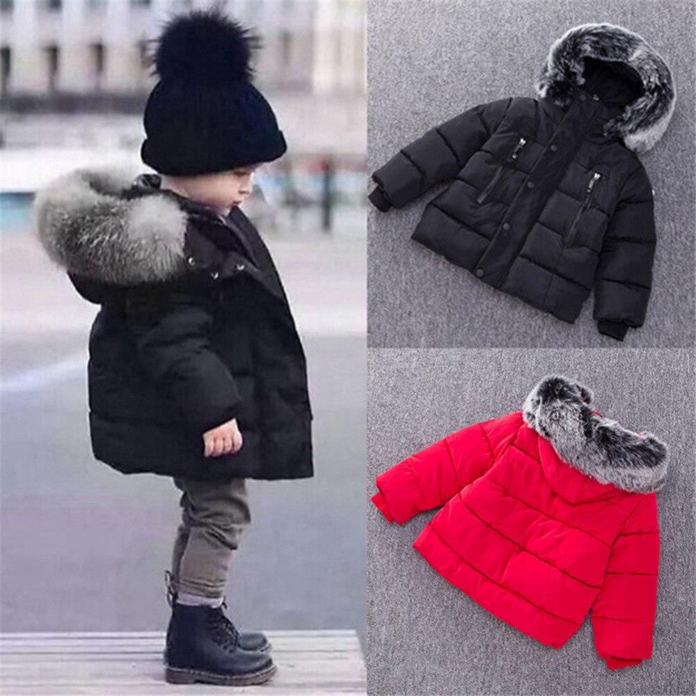 56f9e1619 Chaqueta para bebés 2018 Otoño Invierno chaqueta abrigo para niños abrigo  grueso con capucha Cuello de piel para niños abrigo para niña ropa