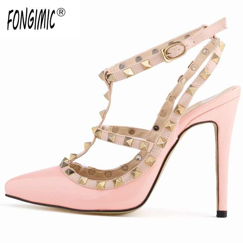 Summer women essential pointed-toe fashion sexy solid patent leather thin high heels simple female rivet pumps sandals shoes fashion new spring summer med high heels good quality pointed toe women lady flock leather solid simple sexy casual pumps shoes