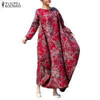 Summer ZANZEA Women Floral Print Long Sleeve Casual Loose Kaftan Retro Baggy Round Neck Maxi Long