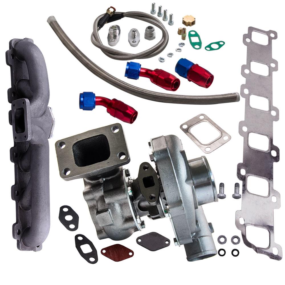 T3 T4 T04E Turbo. 63 A/R. 50 A/R huile T3 bride universelle turbocompresseur collecteur de ligne d'huile pour Nissan patrouille Safari Y60 Y61 TD42