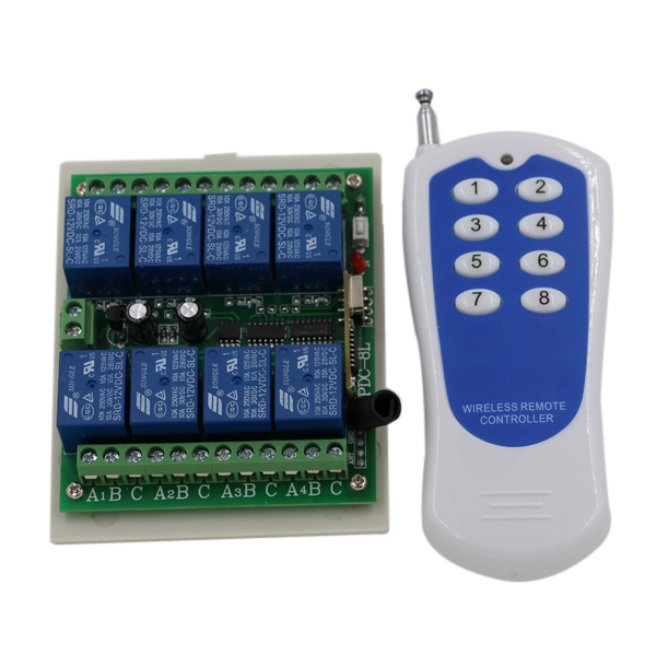 Latest 8 Channel RF Wireless Remote Control Switch & Remote Control System Receiver Transmitter 315/433 8CH Relay NC NO COM