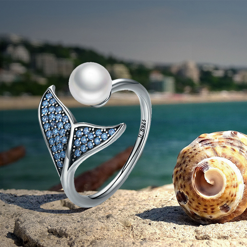 HTB1bKcfJr2pK1RjSZFsq6yNlXXaM BISAER 100% 925 Sterling Silver Female Mermaid Tail Adjustable Finger Rings for Women Wedding Engagement Jewelry S925 GXR286