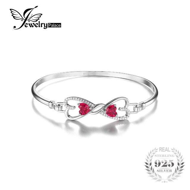 Jewelrypalace forever love сердце 1.6ct создано красный рубин браслет стерлингового серебра 925 браслет для женщин fine jewelry подарок