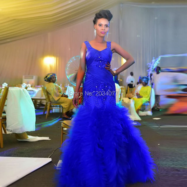 Us 226 0 Fashion Style Royal Blue Wedding Gowns Mermaid Bridal Dresses Lace Ruffles Zipper Tank Diamonds Vestido De Noiva Sereia Sexy In Wedding