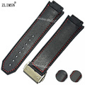 ZLIMSN Watchbands Women Men 26mm 29mm Deployment Clasp Red Stitched Black Silicone Sport Rubber Watch BAND Strap For HUB Bands