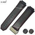 Zlimsn correas de reloj mujeres hombres 26mm 29mm cierre desplegable cosido rojo negro del deporte del silicón del reloj correa de la banda de goma para hub bandas