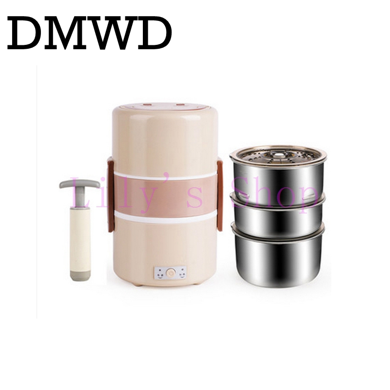 DMWD Electric Heating Lunch Box Three-layer Thermo Lunchbox Vacuum Sealing Food Container Warmer Mini Rice Cooker Steamer 1.8L