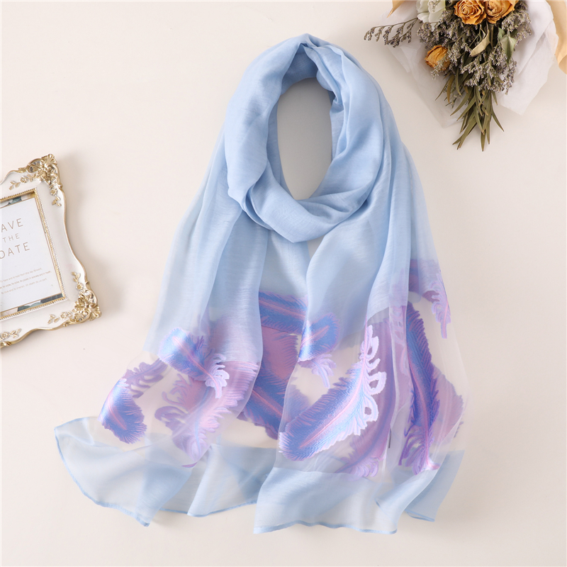 designer 2018 BRAND women   scarf   fashion floral silk   scarves   lady shawls and   wraps   pashmina Hollow foulard long beach stoles