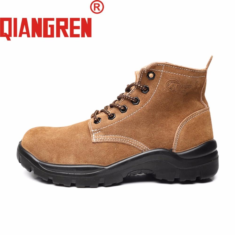 Antideslizante Goma Suede Seguridad Botas Al Aire Mesh Fábrica Militar Marrón Chaussures Primavera De Homme Trabajo Mens Otoño Libre Zapatos Directo Qiangren 1ZTwq0