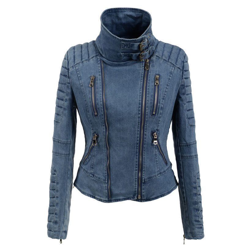 Steelsir Short Fashion Turtleneck Zipper Denim Women Jackets Ruched Sleeves Female Hasp Jeans Coat Ladies Vintage Slim Outerwear