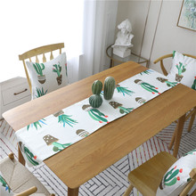 Creative Nodic Print Cactus Table Runner Flag Modern Solid Tablecloth TV Cabinet Cover for Wedding Party Home Decor