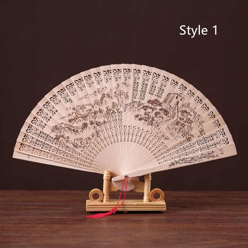 China Klassieke Hand Hout Fan Grote Muur Panda Bloem Gedrukt Folding Fans Party Geschenken Dans Prop Home Decor
